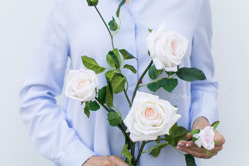 kuenstliche Edelrose weiss-rosa
