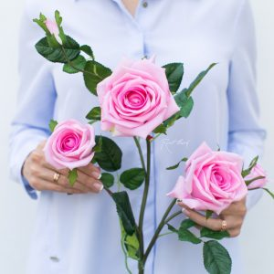 kuenstliche-Seidenblume Edelrose in pink
